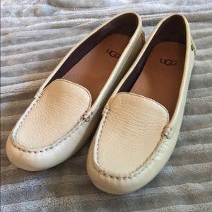 Cream leather slip on uggs